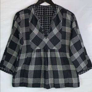 Madewell Women's Black Flannel with V Neck Blouse